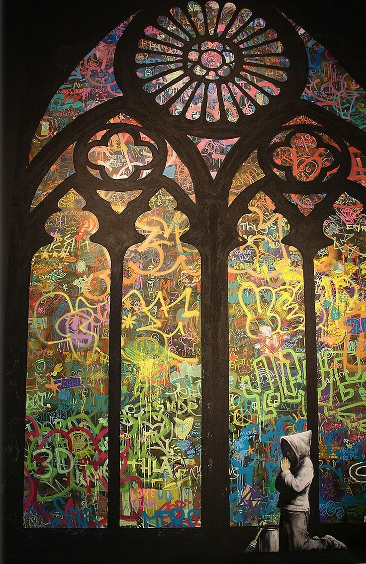 Stained Glass Window Graffiti di Banksy